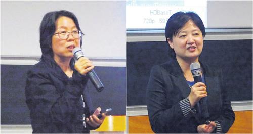 张香筠(左)与程静(右)分别致辞。(图片来源:《欧洲时报》记者 张雨滴 摄)