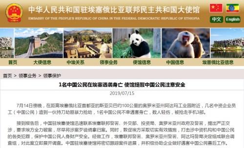 截图自中国驻埃塞俄比亚大使馆网站