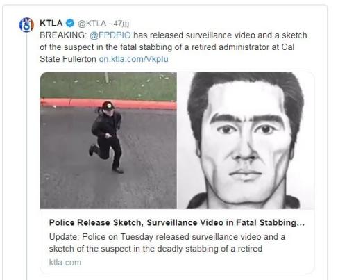 警方公布嫌犯的画像和监控画面。