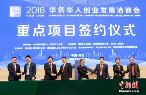 资料图:2018年11月22日,第十八届华创会在武汉开幕。来自全球71个国家和地区的1300余名海外华侨华人及2000余名国内代表参会,共对接洽谈海内外参会项目1093个,121个项目达成合作协议及意向,投资总额达667亿元人民币。 <a target='_blank' href='http://www.chinanews.com/'>中新社</a>记者 张畅 摄