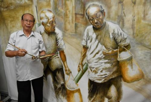 """谢锡明""""蕉风椰雨路""""之下南洋系列的经典作品之一《老伴》。(马来西亚《星洲日报》/冯依健、谭宝婷 摄)"""