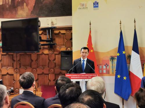 中国驻法大使卢沙野致辞。(法国《欧洲时报》/靖树摄)