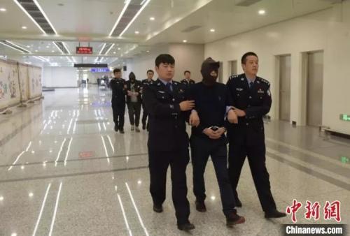 图为警察押回境外电信诈骗人员(<a target='_blank' href='http://www.chinanews.com/' >中新网</a>)