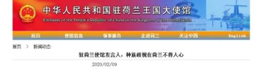 中国驻荷兰大使馆网站截图