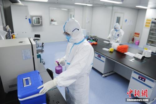 3月12日,核酸检测人员在给标本转运箱消毒。<a target='_blank' href='http://www.chinanews.com/'>中新社</a>记者 张娅子 摄