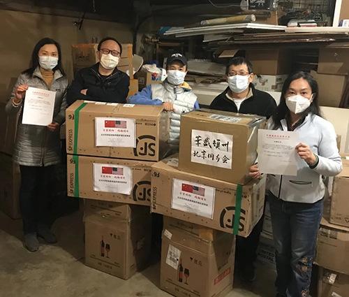 美国华盛顿州美国同乡会已收到抗疫物资。(图片来源:北京市委统战部)