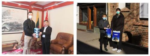 驻立陶宛大使馆为在立中国留学生发放防疫物资