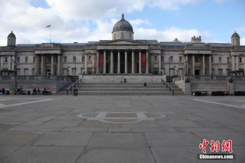 伦敦市中心特拉法加广场显得格外空旷。<a target='_blank' href='http://www.chinanews.com/'>中新社</a>记者 张平 摄