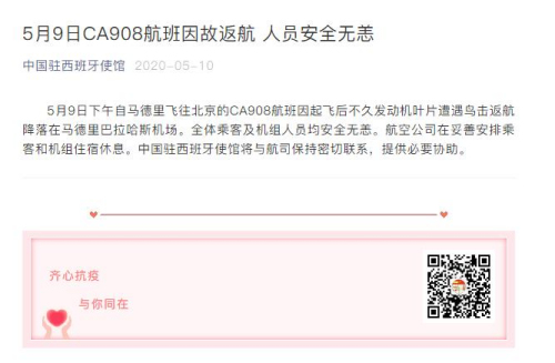 驻西班牙使馆:马德里飞北京航班遭鸟击返航 人员安全