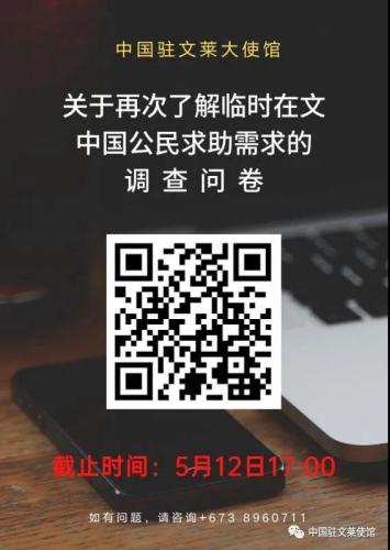 驻文莱使馆再次对确有困难的中国公民进行需求调查
