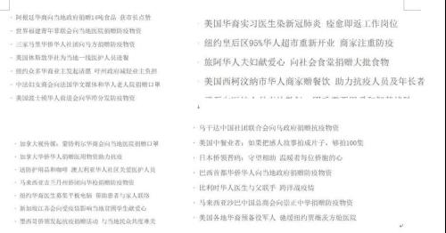 各国华侨华人帮助当地战疫的故事数不胜数。