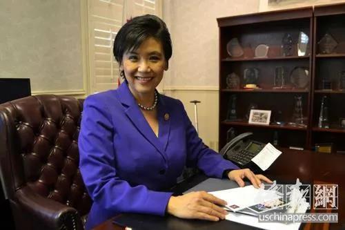 资料图:美国国会华裔众议员赵美心。图片来源:美国《侨报》高睿 摄