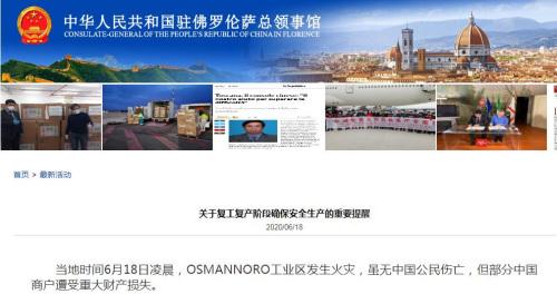 来源:中国驻佛罗伦萨总领馆网站截图