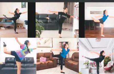 居家『隔』离期间,圣『保』罗华星艺术团成员通过视频连线,参与日常『训』练及『交』流。 李青『霞』供图