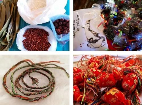 瑞『士』苏黎『世』华裔孩子『们』做的粽『子』、五彩绳和香『囊』。