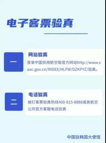 电子客票验真。(中国驻韩国大使馆网站截图)