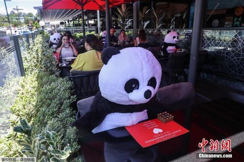 """土耳其餐厅让""""大熊猫""""陪吃饭 提醒保持社交距离"""