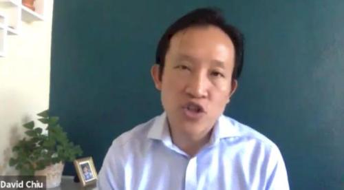 """加州众议员邱信福(David Chiu)参与日前举行的""""反仇恨亚裔""""线上报告。(美国《世界日报》记者陈开 摄)"""