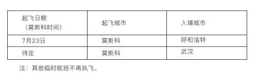 中国驻俄罗斯使馆公布从莫斯科起飞的临时航班计划