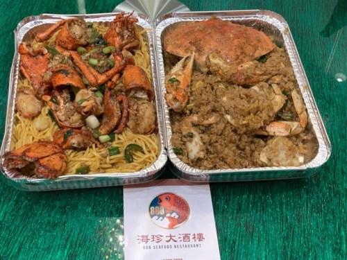 华人海鲜(酒)楼(推)出22元的龙虾(伊)面和30元的螃蟹油饭。((美)国《世界日报》记者张宏 (摄))