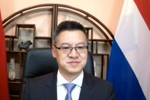 中国驻荷兰大使馆临时代办陈日彪致辞。(EFCSE微信公众号图片)