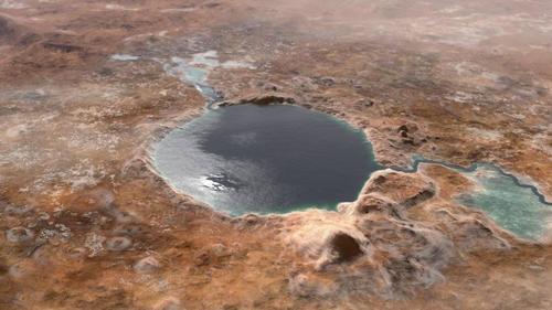 NASA公布数十亿年前火星湖泊复原图