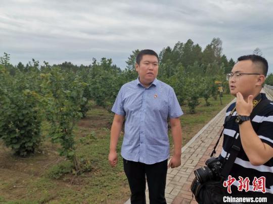 哈尔滨市通河县富林镇相关负责人介绍长生大果榛子精准扶贫基地情况。 姜辉 摄