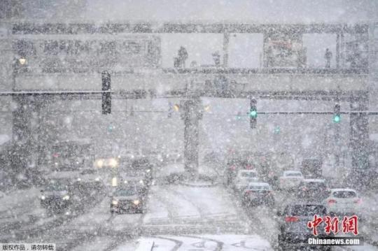 当地时间2021年2月4日,美国芝加哥,当地迎来暴雪,气温降至冰点以下。