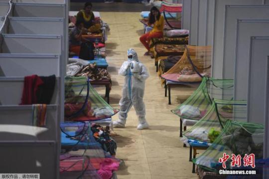 当地时间2021年5月2日,印度新德里,印度英联邦运动会运动员村变成临时新冠病房。