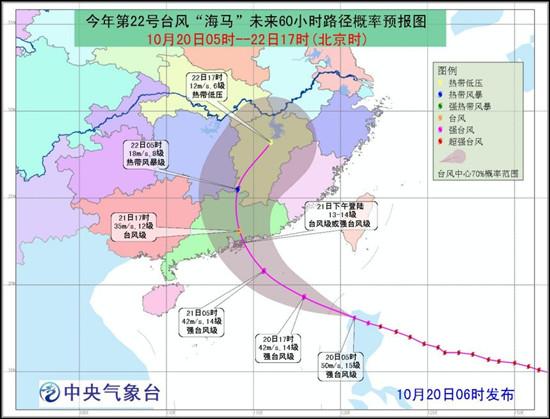 海马 靠近珠海汕头一带 气象台发布台风橙色预警
