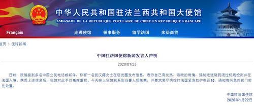 武汉女子被指吃退烧药混过安检入境法国中使馆回应