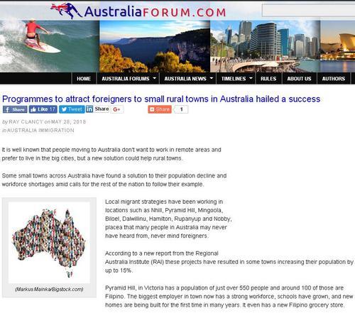 中国侨网澳大利亚乡村推优先移民计划,助力解决生产力短缺。(澳洲网/澳洲论坛页面截图)