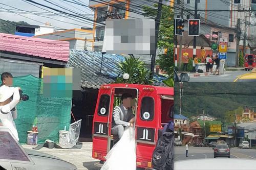 中国侨网中国夫妻普吉岛拍婚纱照。(泰国《世界日报》)