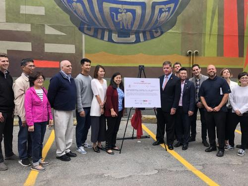 美国波士顿华埠新壁画揭幕弘扬中华民族传统美德