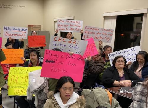 纽约教育理事会成员涉歧视亚裔华裔家长持续抗议