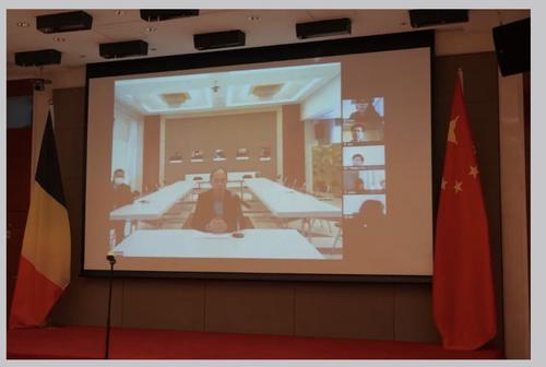 驻比利时使馆举行在比中国留学生同心抗疫视频会议