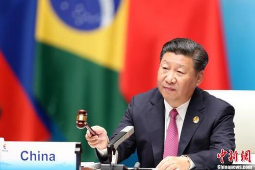中国侨网9月4日,金砖国家领导人第九次会晤在厦门国际会议中心举行。中国国家主席习近平主持会晤。中新社记者 盛佳鹏 摄