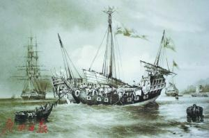 十九世纪在东南亚海域的中国帆船。
