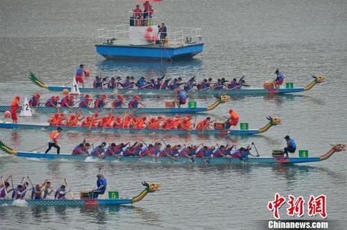 参加比赛的龙舟颜色各异,有黄龙、白龙、红龙等 雷勇 摄