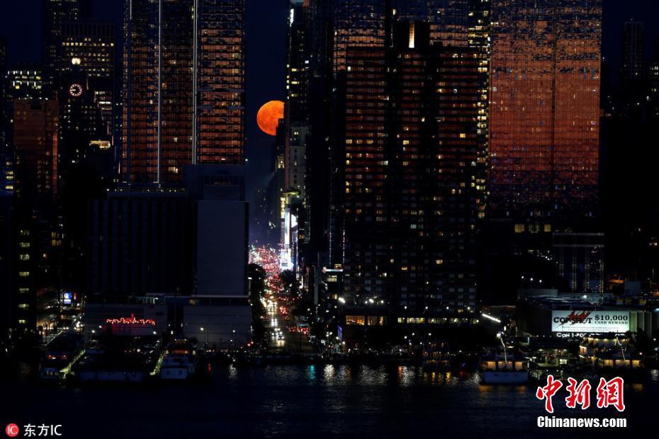 """猩红""""草莓月亮""""惊艳纽约夜空"""