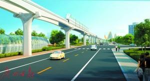 中国侨网单轨备选景观图初步方案。