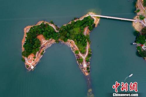 中国侨网 在福建省德化县龙门滩龙门湖风景区内,一座开发中的小孤岛因