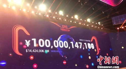 中国侨网 图为天猫双11刷新记录,1小时47分完成1000亿交易额。 赵小燕 摄