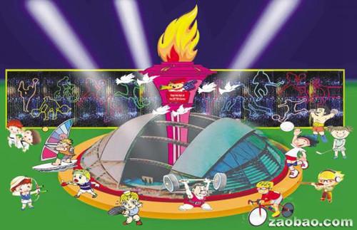 今年滨海花月庆中秋的其中一个巨型灯组,以刚启用的新加坡体育城国家