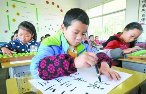 湖南小学生欢迎珠算书法国学小学受练习(图)文化中心安溪图片