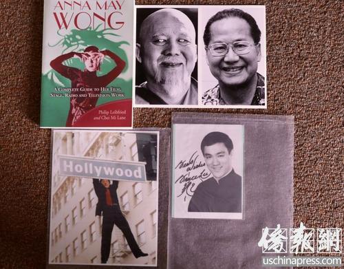 中国侨网陈灿培收集的华裔影星照片。左上角为黄柳霜,右上角为陆锡麒与他的银幕形象,左下角为成龙,右下角为李小龙。(美国《侨报》记者/邱晨 翻拍)