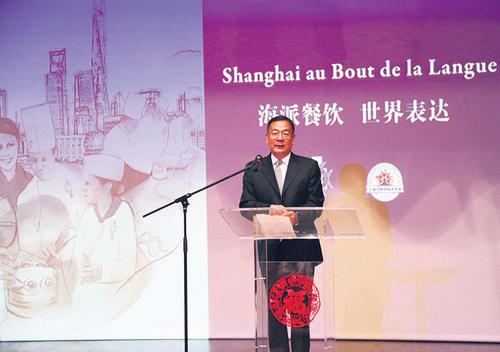 中国侨网李少平公参致辞。(法国《欧洲时报》/黄冠杰 摄)